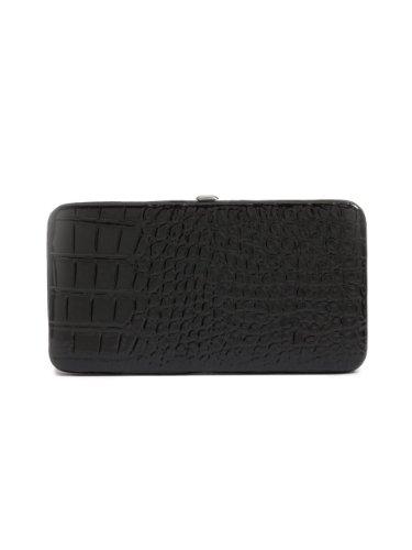 G by GUESS Women's Logo-Print Hard-Case Wallet, BLACK