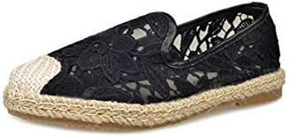 漁師靴レディースシューズシングル靴フィッシャーマンキャンバス夏春と秋の刺繍レイジーボードシューズメンズシューズ通気性フラットサンダルとスリッパリネンフラット浅い口カジュアル潮シューズ布靴をペダルデオドラント漁師の靴中空靴刺繍入りレディースシューズレディースシューズ (Color : Black, Size : 24cm)