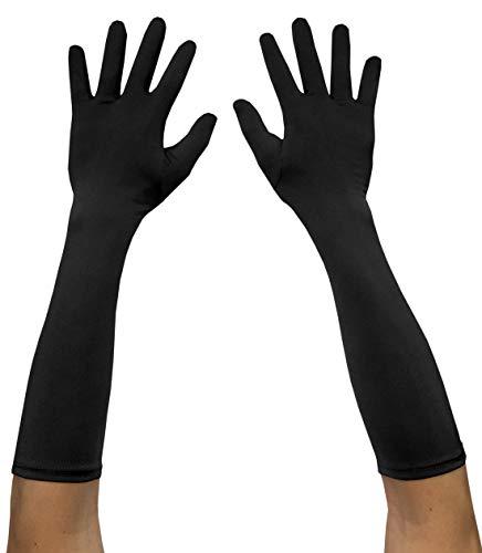 Seeksmile Adult Spandex Elbow Length Costume Gloves (Free Size, Black)