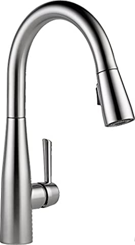 Delta Faucet 9113-AR-DST Essa Single Handle Pull-Down Kitchen Faucet with Magnetic Docking, Arctic (Pulldown Faucet Delta)