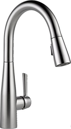 Delta Faucet Essa Single-Handle Kitchen Sink Faucet with Pull Down Sprayer and Magnetic Docking Spray Head, Arctic Stainless - Handle Point Straight 12