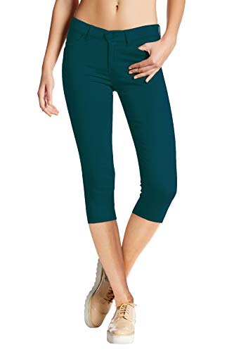 HyBrid & Company Women's Hyper Stretch Denim Capri Jeans Q44876 Teal S