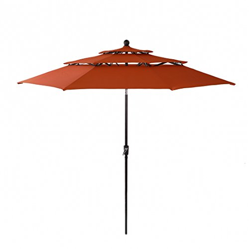 (PHI VILLA 10ft 3 Tier Auto-tilt Patio Umbrella Outdoor Double Vented Umbrella, Orange Red)