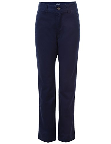 Chaps Boys' Big Flat Front Twill Pant with Stretch, Newport Blue, ()