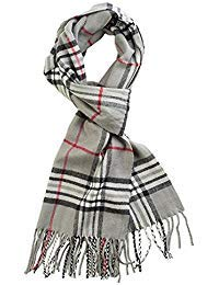 Classic Luxurious Soft Cashmere Feel Unisex Winter Scarf in Checks and Plaid (Grey Plaid)