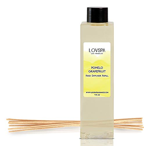 LOVSPA Pomelo Grapefruit Reed Diffuser Oil Refill with Replacement Reed Sticks | Energizing Blend of Subtropical Grapefruit Infused with Pomelo and Agave Nectar, 4 oz | Vegan - Made in The USA - Grapefruit Reed Diffuser