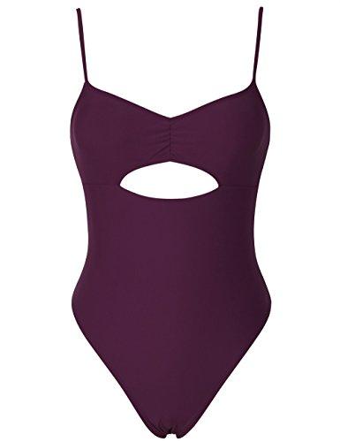Hilor Women's Keyhole Swimsuits Front Cutout Bikini Swimwear One Piece Swimsuits Low Back Monokini Burgundy 10