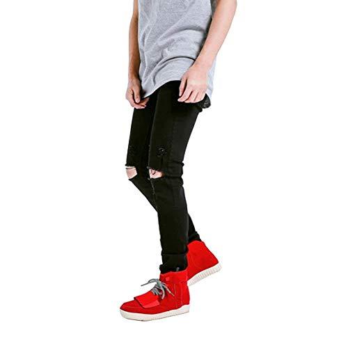 Black14 Fit Pantalones Ripped Fashion Pantalones Slim Destruido Vintage Jeans Stretch Mens Agujeros Biker Jeans a4awcOqT