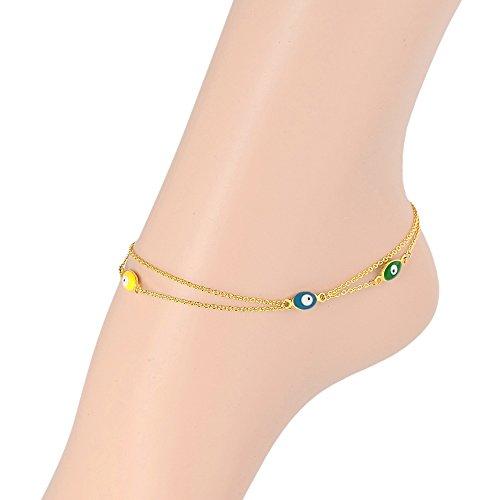 Bala 18K Yellow Gold Titanium Double Layer Evil Eye Bead Chain Anklets 22cm+5cm Extral
