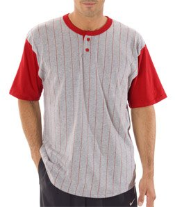 Badger Men's Pinstripe Short Sleeve Henley T-Shirt, Heather/ Red, (Badger T-shirt Henley)