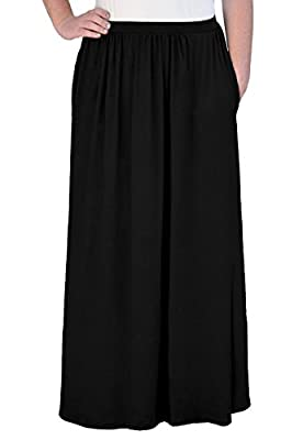 Kosher Casual Women's Modest Maxi Long Gathered Elastic Waist Skirt with Pockets