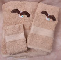 Soaring Eagle Biege Wash Hand Bath Towels Set (Soaring Eagle Embroidery)