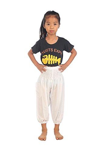 Toddler Gypsy Costume (Lofbaz Kids Solid Hippy Gphsy Child Pirate Pants Thai Bohemian White Size)