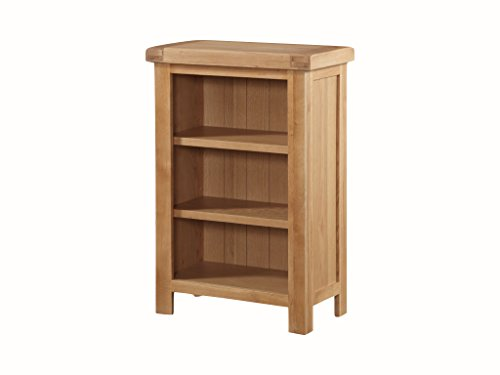 Newport Solid Oak Low Slim Bookcase - Oak Small Bookcase - Oak Low Shelving Unit - Finish : Light Oak Rustic - Home Office - Living Room Furniture