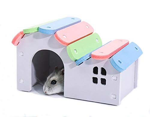 Picture of PIVBY Wooden Hamster Hideout House,Pet Play Bridge Rat Mouse Exercise Toys for Small Animal Habitat (2 Packs)