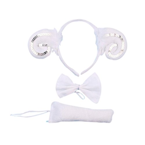 [Marlegard® 3PCs Funny Dalmatian Milk Leopard Costume Headband Ear with Tail Tie (White Goat)] (Dalmatian Ears)