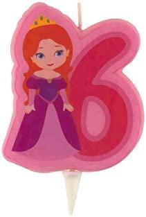 Vela de cumpleaños princesa Número 6 talla única: Amazon.es ...