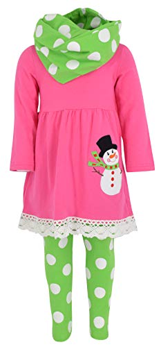 Unique Baby Girls Frosty The Snowman 3 Piece Christmas Outfit (4T/M, Pink) (Snowman Outfit Frosty The)