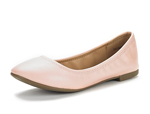 DREAM PAIRS Women's Sole Happy Pink Ballerina Walking Flats Shoes - 8.5 M US