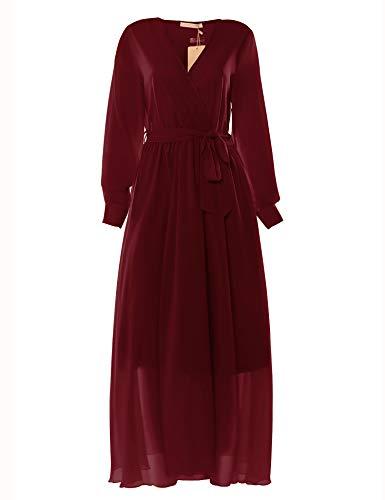 New Feeling Swing Dress Long for Women, Long Sleeve Ankle Length Sashes Tunic Vneck Lined Chiffon Maxi Dresses (Burgundy, Medium) ()