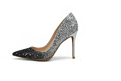 Pequeño Bombas Plata Oro De De Las Tacón Brillo Zapatos Alto Boda Altos De Black del VIVIOO del Mujeres Tacones Estilete Silver Mujeres Zapatos 10cm Grande 1wqfpFF