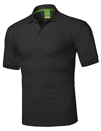 (Solid Dri-Fit Active Athletic Golf Short Sleeves Polo Shirt Black L)