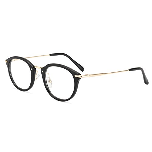 ROYAL GIRL Small Round Circle Glasses Women Metal Frame Clear Lens Classic Vintage Eyeglasses (Black Frame, - Glasses Face