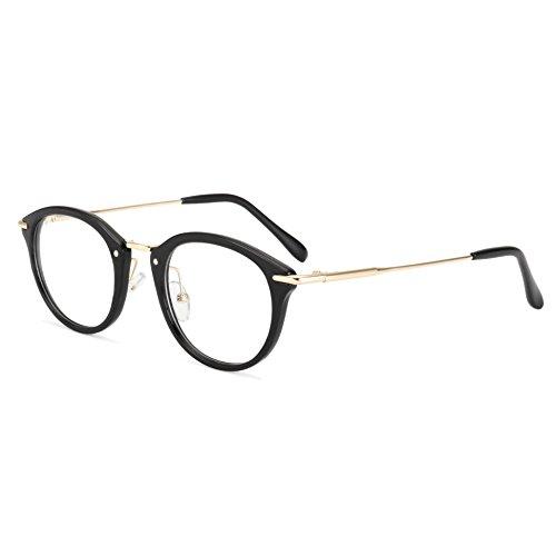ROYAL GIRL Small Round Circle Glasses Women Metal Frame Clear Lens Classic Vintage Eyeglasses (Black Frame, - Face Glasses