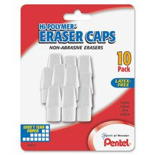 Hi-Polymer White Pencil Cap Erasers, 10/PK, Sold as 1 Package, 10 Each per Package