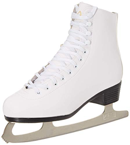 (American Athletic Shoe Women's Leather Lined Ice Skates, White, 6 (Renewed))