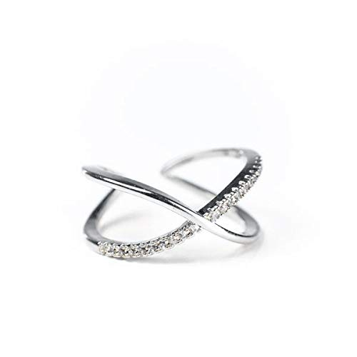 - Blush and Bar Nadia X Infinity Ring for Girls & Women - Sparkly Adjustable I Love You CZ Pave Jewelry Gifts for Mom, Girlfriend, Wife, Sister, BFF, Bridal Party (Silver)