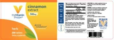 The Vitamin Shoppe Cinnamon Extract 500MG, Herbal Supplement That Helps Maintain Glucose Levels Already Within The Normal Range, Glucose Metabolism 200 Tablets
