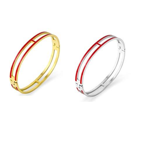 Fashion Titanium Steel Bracelets Buckle Bangle Love Bracelet Enamel Bracelet Jewelry for Women(8mm 2red)
