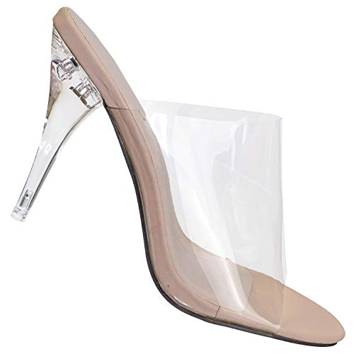 (Aquapillar Pointed Toe Mule Sandal Slipper w Clear Transparent Lucite Strap)