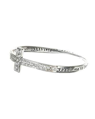 Jewelry Nexus Inspirational Cross Crystal Bracelet Teach to let go dear god pray until my heart fills inner peace