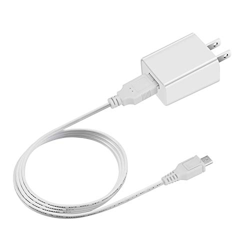 (Dericam 5V 1A Micro USB Wall Charger, 5 Volt 1000mA AC to DC Power Adapter for Home Security Camera, 5ft/1.5 Meter Power Cord,US Plug (5V 1A USB Charger-White))
