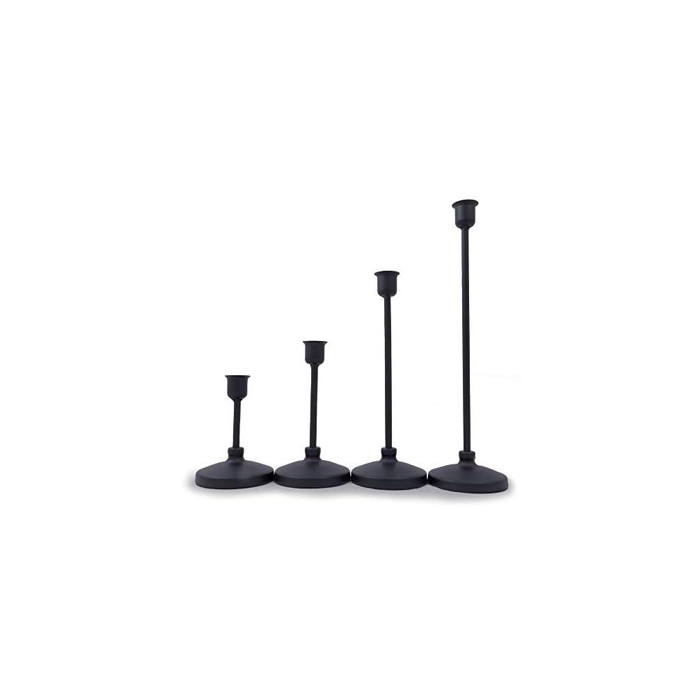 Kai4 Kollections - Modern Matte Black Taper Candlestick Holders Set of 4, Candle Holders, Farmhouse Decor, Rustic Decor…