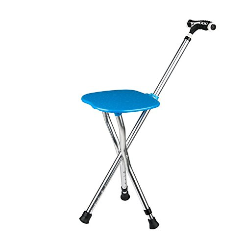 GZYYY Canes Stool for Men and Women Fashionable Collapsible Walking Cane With Seat Attached Three Tips Prongs Heavy Duty Adjustable Folding Light Weight with Lights And T Handle Aluminum Blue Section Heavy Duty Range