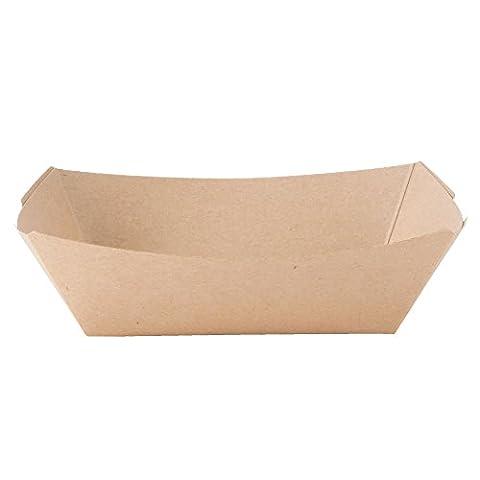 Black Cat Avenue Natural Kraft Paper Food Tray, 2 lb, 100-Pack (Paper Food Trays 2lb)