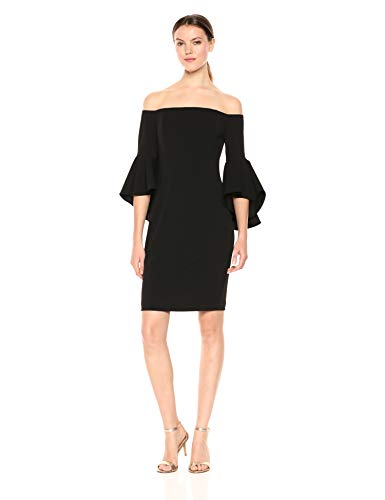 Calvin Klein Women's Off The Shoulder Solid Bell Sleeve Sheath Dress, Black 2, 12