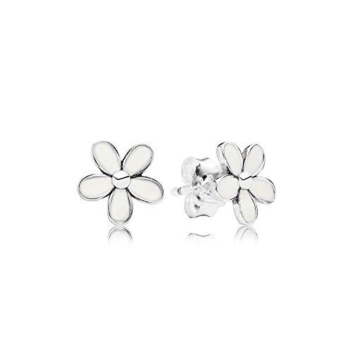 Pandoras Darling Daisies, White Enamel (White Daisy Earrings)