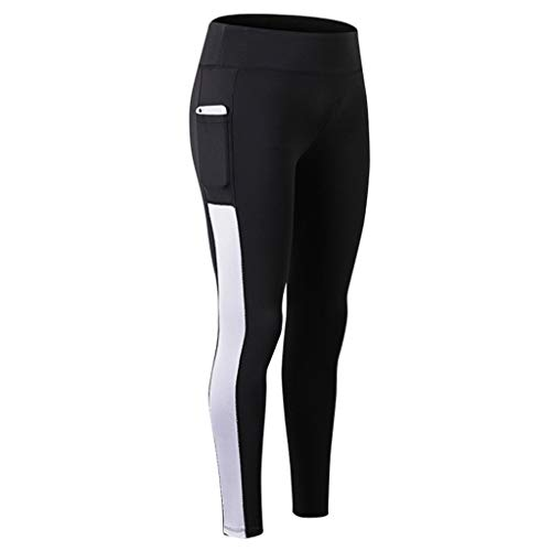 kaifongfu Yoga Pants for Women with Phone Pockets, Compression Workout Leggings Tummy Control Yoga Shorts(White,XXL)