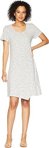 Mod-O-Doc Women's Slub Mini Stripe Asymmetrical Hem T-Shirt Dress White ()