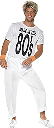 Smiffy's Men's Made In 80's Costume with Top and Trousers, White, Medium