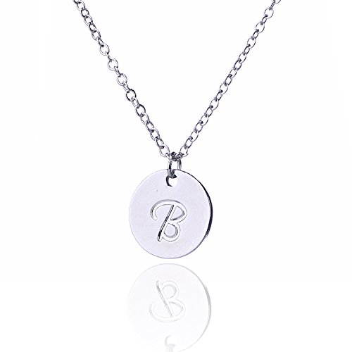 Price comparison product image AOLO Small Round Disc Alphabet Initial Necklace B