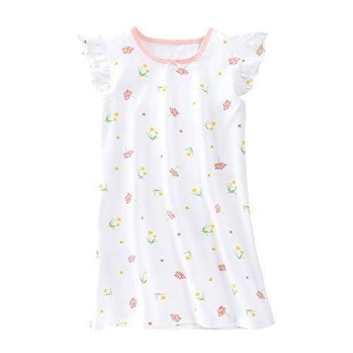 Teen Girls' Princess Nightgowns Floral Sleep Shirts Holiday Nightshirt White Short Sleeve 11 12
