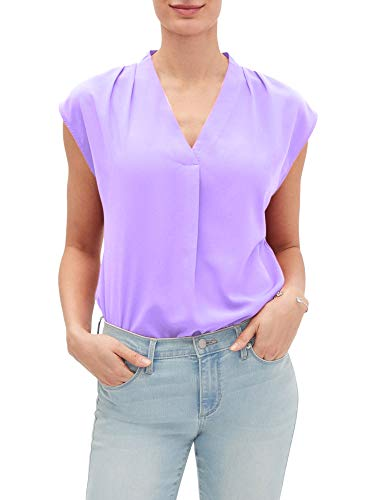 Banana Republic Womens Shoulder Pleated Tank Top Blouse Orchid Purple (Large)
