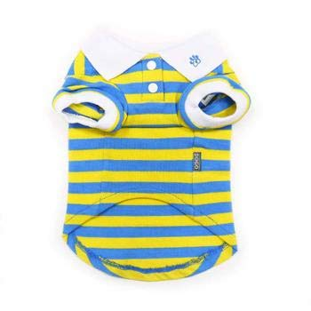 (PuppyPAWer Stripe Dog Polo by Dogo (X-Small, Blue and Yellow))