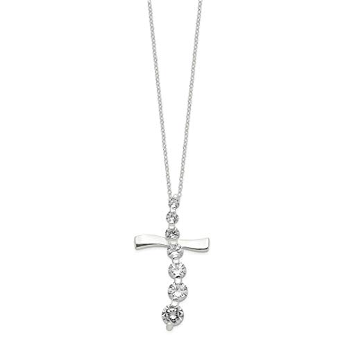 ICE CARATS 925 Sterling Silver Cubic Zirconia Cz Cross Religious Journey Chain Necklace Pendant Charm Fancy Crucifix Fine Jewelry Ideal Gifts For Women Gift Set From (Cubic Zirconia Journey Pendant)