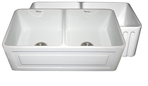 Sink Whitehaus Fireclay Undermount - Whitehaus WHFLRPL3318 33-Inch Reversible Series Fireclay Sink with Raised Panel Front Apron on One Side and Fluted Front Apron on Other Side, White